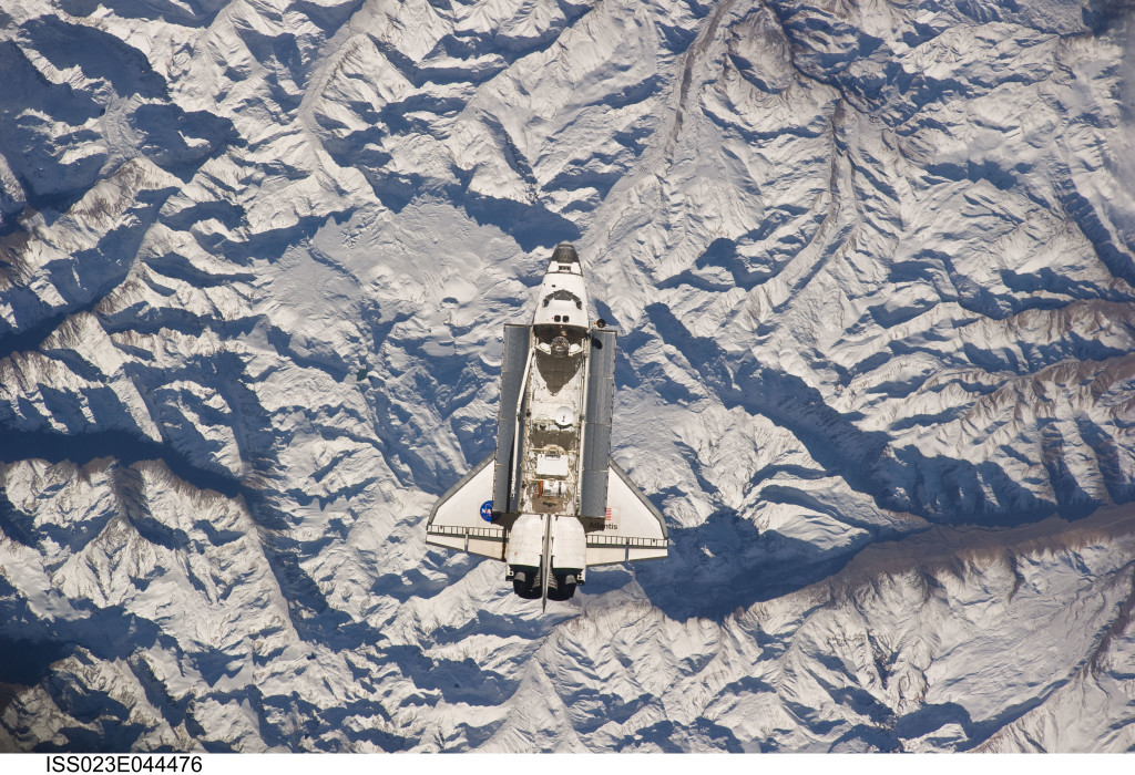 Astronauts aboard the International Space Station took this picture of the space shuttle Atlantis' STS-132 mission as it flew over a glacier in Chile and Argentina. (NASA)