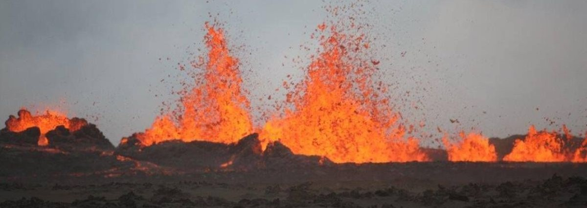 iceland volcano lava fountain