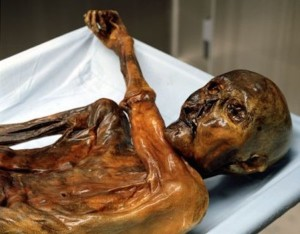 Ötzi the Iceman, a well-preserved natural mummy of a Chalcolithic (Copper Age) man from about 3300 BC, who was found in 1991 in the Schnalstal glacier in the Ötztal Alps, near Hauslabjoch on the border between Austria and Italy. (South Tyrol Museum of Archaeology)