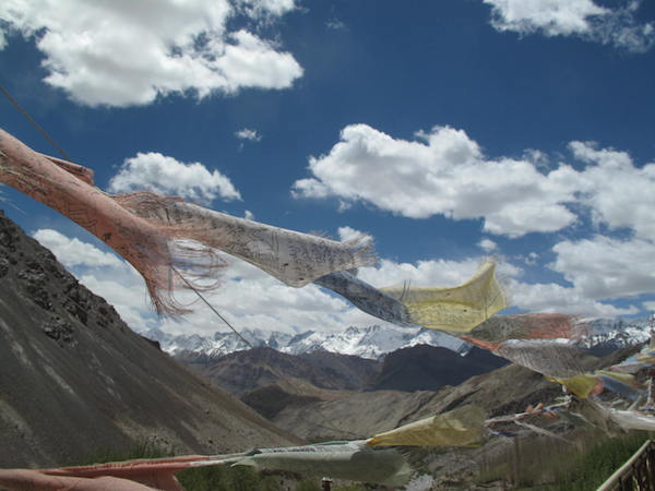 Prayer flags blown by the wind