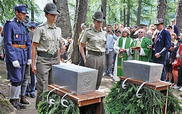 Funeral in Peio, 2012, of two soldiers who fell at the Battle of Presena, May 1918. (Laura Spinney/The Telegraph)