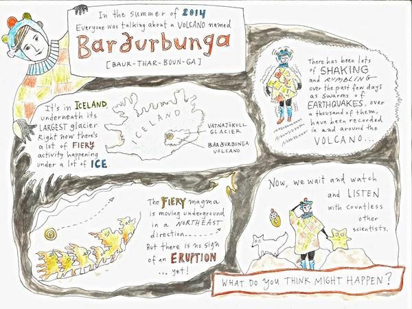 Iceland children's singer Elska posted this drawing about the Bárðarbunga eruption. (source: @islandofelska/Twitter)