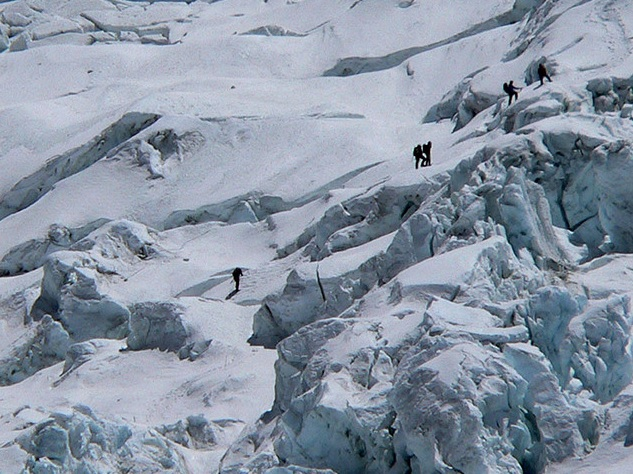 The Khumbu Icefall is a notoriously dangerous part of Mount Everest. Sixteen Nepalese guides died here on April 18 in one of the worst accidents in the mountain's history. (source: Mahatma4711)