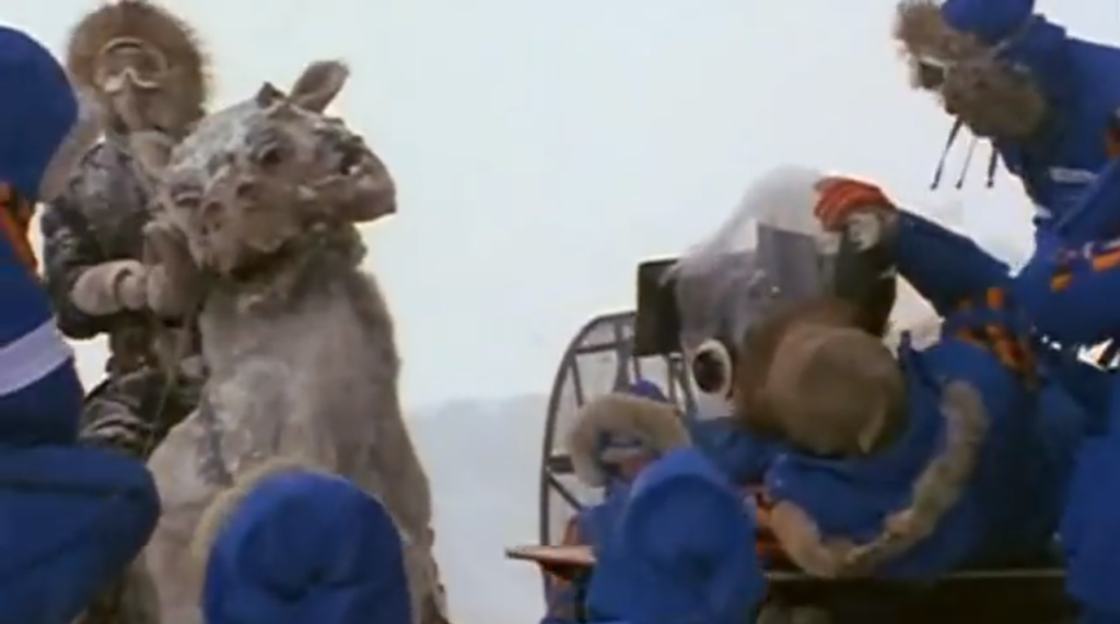 "The film crew for the Empire Strikes Back prepares to film a scene with Harrison Ford  in Norway. (film still from documentary ""Empire of Dreams - The Story of the Star Wars Trilogy)"