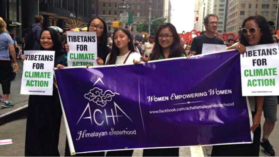 Activists with the ACHA Himalayan Sisterhood walk in the People's Climate March on September 21 in New York City. (photo: Tsechu Dolma)