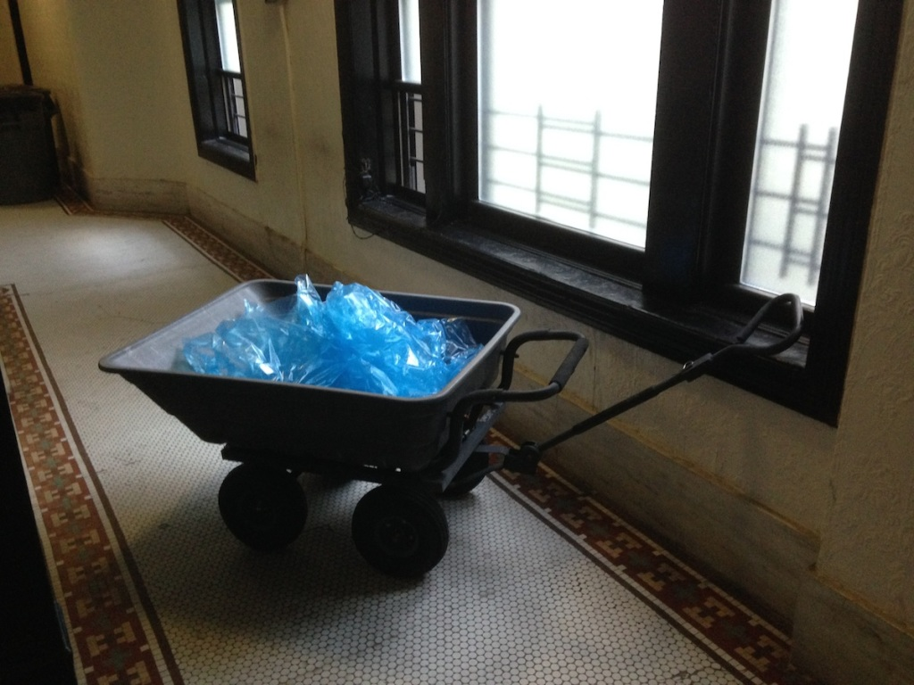 Two New York City science teachers will transform this wagon and bag of ice into a model glacier for the September 21 People's Climate March. (photo: Ben Orlove)