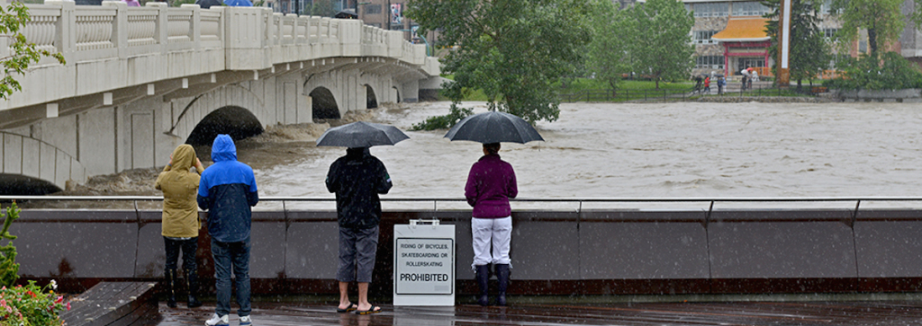 Heavy rain combined with earlier glacier melt into both the Elbow river and the Bow river flooded Calgary, Alberta in late June 2013. (Wayne Stadler/Flickr)