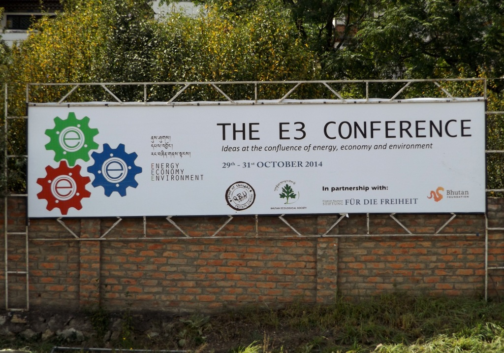 Billboard advertising the E3 conference in Thimphu 29 -31 October 2014. (photo: Ben Orlove)
