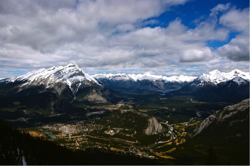 Overlooking the town of Banff, Alberta in the Canadian Rockies, with Bow River flowing across the town. Taken at the top of the Sulphur Mountain. (Photo: Yuanrong Zhou)