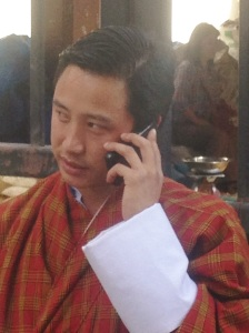 Cell phone use is active around the main market in Thimphu and throughout the city. (photo: Ben Orlove)