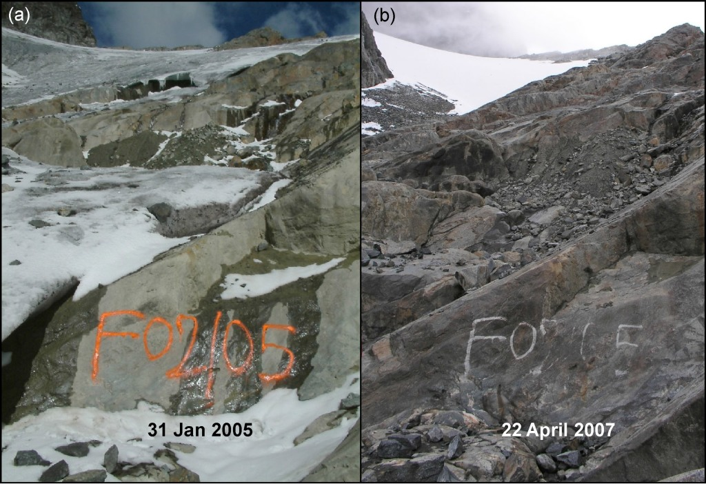 150 m retreat of the terminus of the Elena Glacier in the Rwenzori Mountains observed in photographs from (a) 31 January 2005 and (b) 22 April 2007. (photo illustration: Richard Taylor)
