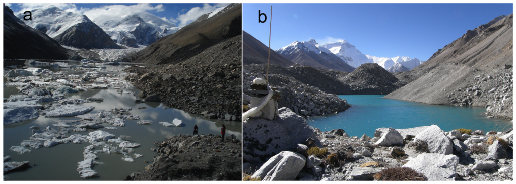(from journal article: Field observations for glacial lakes: (a) the rapidly expanding Lake Longbasaba in 2012; (b) an areally increasing glacial lake at the Middle Rongbu Glacier near Mount Qomolangma (Everest) in 2008.)