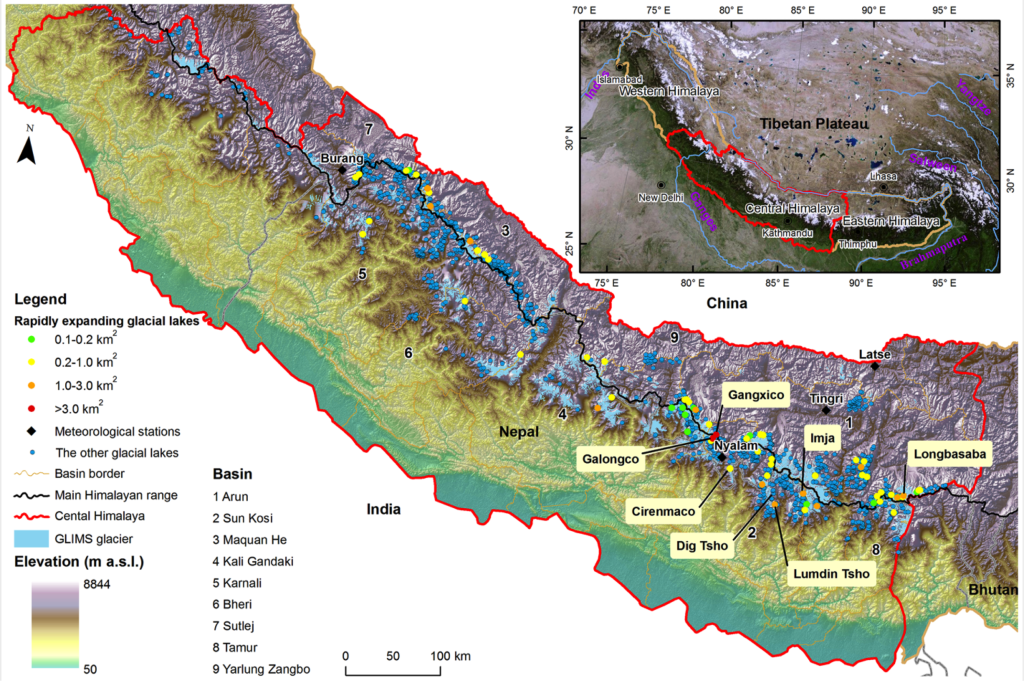 (from journal article: Distribution of glacial lakes in the central Himalayas)