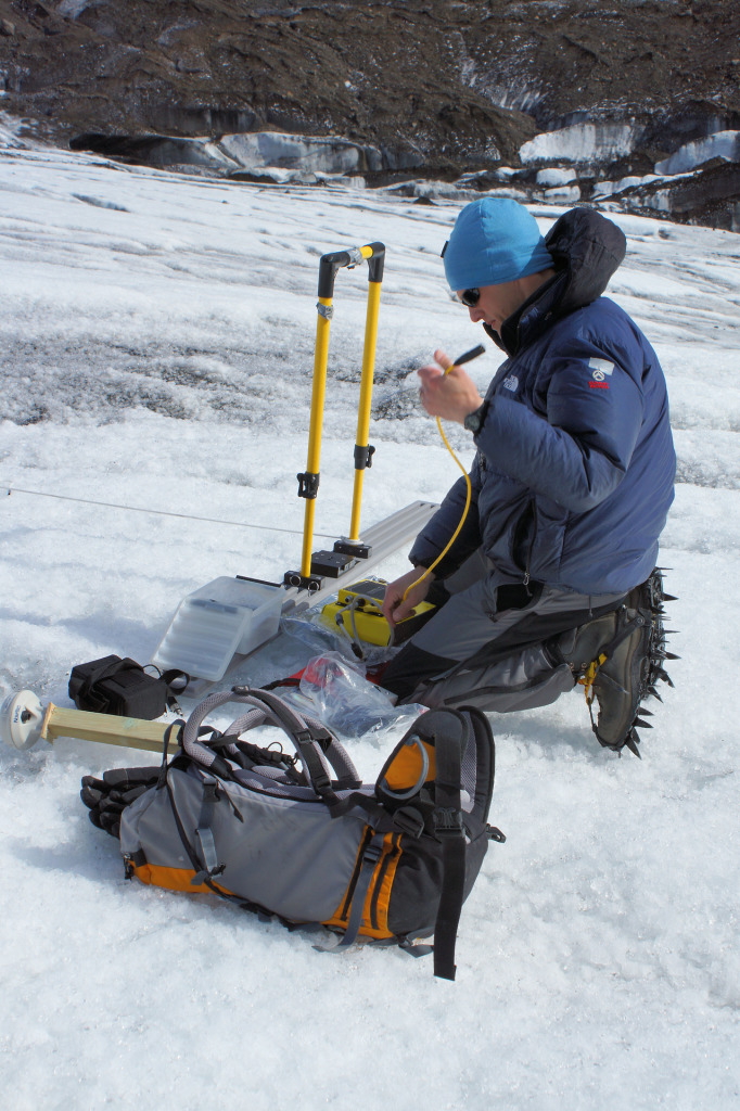 Andrew Finlayson setting up the ground penetrating radar. Photo Credit: British Geological Survey.