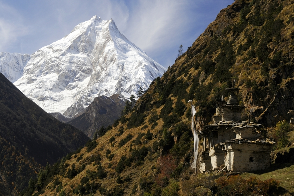 Mt. Manaslu from the old monastery near Lho village (Source:  Jan Zalud/Flickr