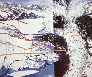 Columbia Glacier, lines of recession 1980-2005. ©Diane Burko