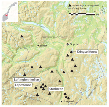 Overview of snow patches sites with archaeological finds in central Norway. Callanan et al, 2014, Journal of Glacier Archaeology, Vol. 1. Norwegian University of Science and Technology.