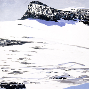 Boulder Glacier 1932 after T.J. Tileman, January 2010, Oil on canvas, 24 x 24 inches.  ©Diane Burko