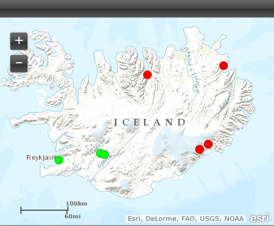 Current sulfur dioxide observations in Iceland (red=present, green=absent) (Source: Icelandic Environmental Agency)