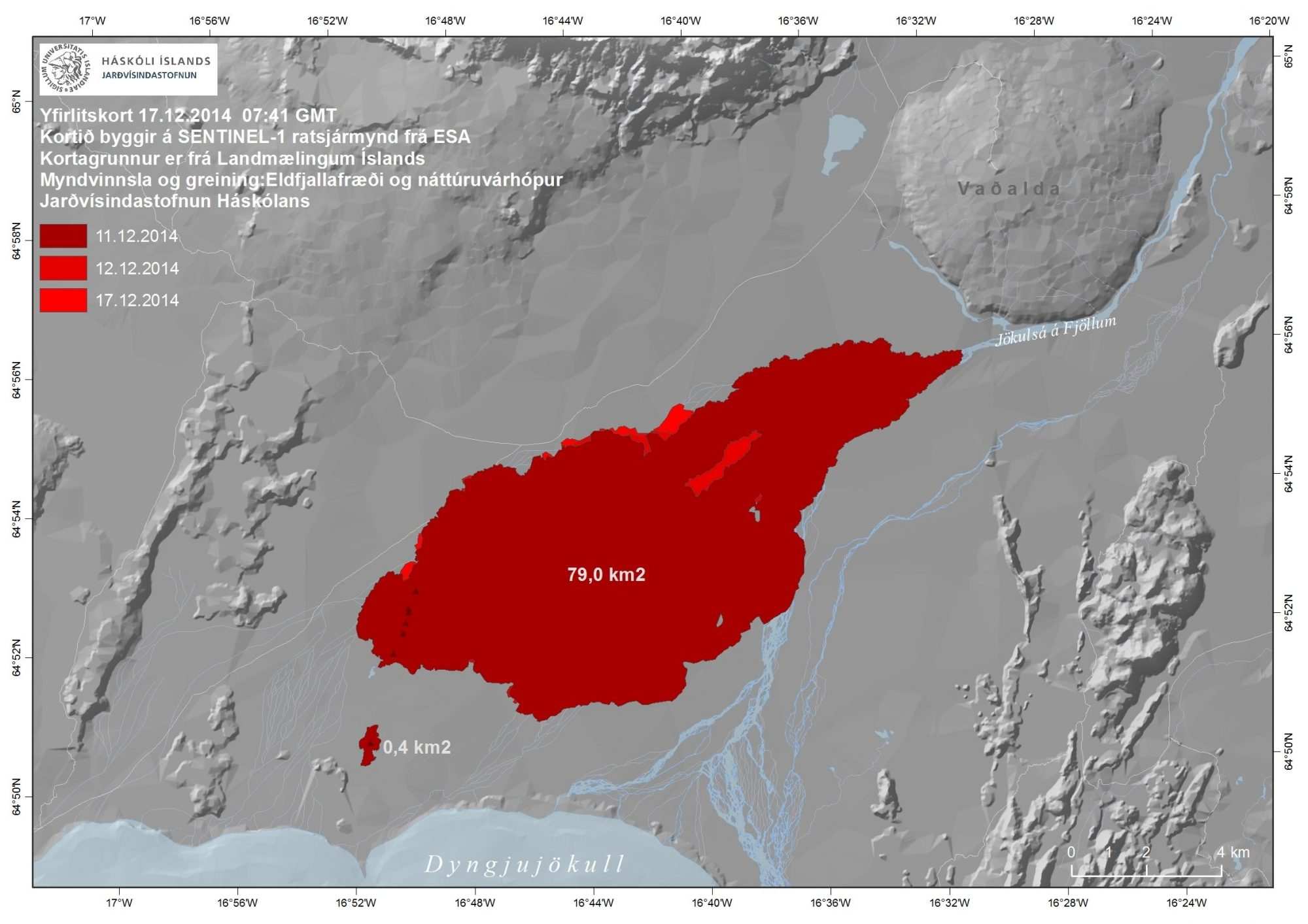 Extent of Bardarbunga lava field in mid-December. (Source: Icelandic Meteorological Office)