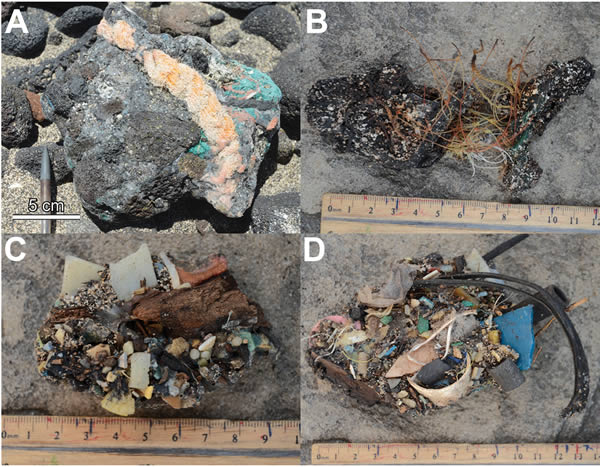 Plastiglomerates from Kamilo Beach, Hawaii (source: Geological Society of America)