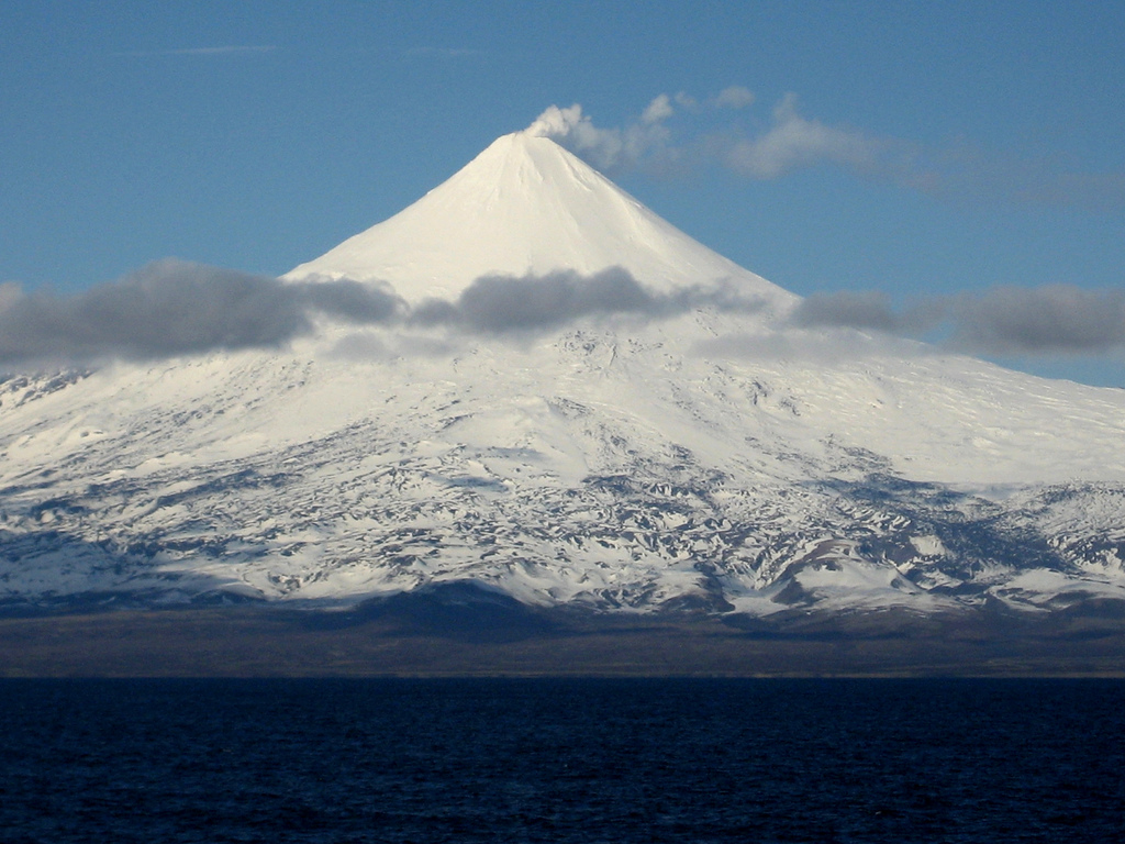 A photo of an Aleutian Volcano and Glacier