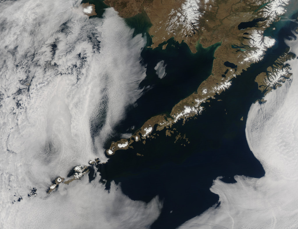 A satellite picture of the Aleutian Island Range