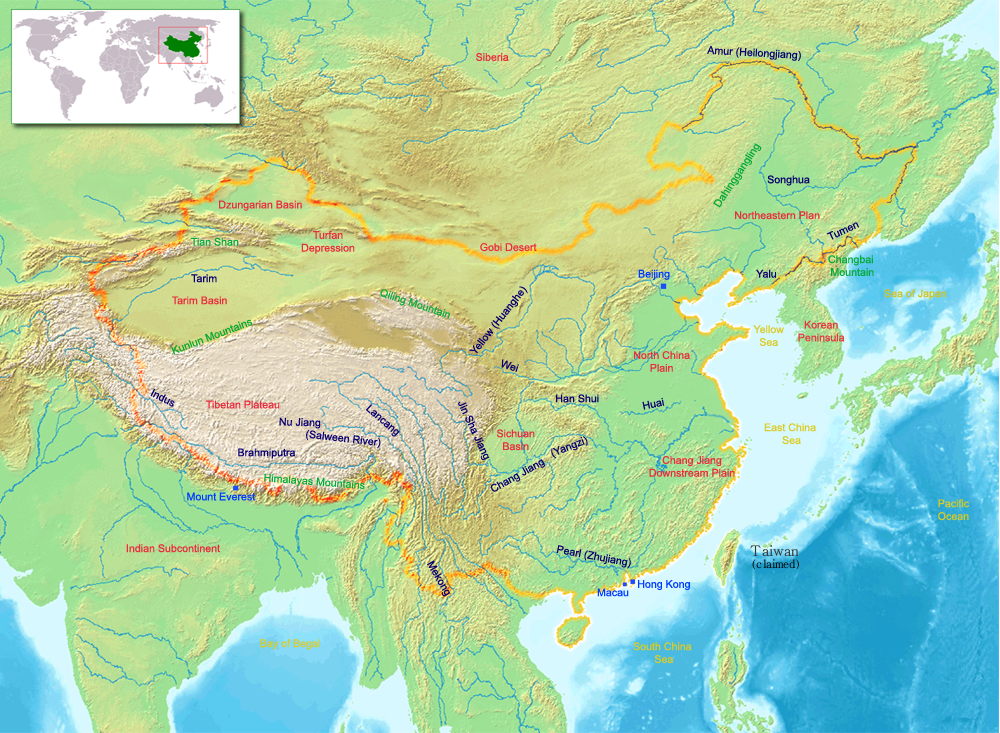 The Tibetan Plateau spans across much of the Asian continent. (Photo: wikipedia)