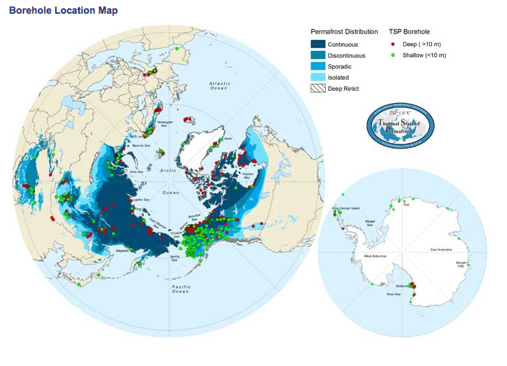 Current permafrost distribution in the Northern Hemisphere (Photo: International Permafrost Association)