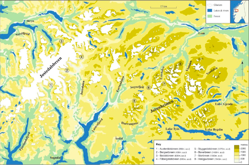 The location of the eight glacier forelands in southern Norway (Source: Vater and Matthews/Sage Journals).