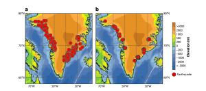 Map showing 252 glacial earthquakes in Greenland for the period 1993–2008, detected and located using the surface-wave detection algorithm. (b) Map showing the improved locations of 184 glacial earthquakes for the period 1993–2005 analyzed in detail by Tsai Ekström (2007). ©  Glacial Earthquakes in Greenland and Antarctica, Meredith Nettles and Göran Ekström, Lamont-Doherty Earth Observatory of Columbia University