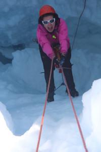 JIRPer Laurissa explorers a Juneau Icefield crevasse. Photo by Hannah Rosenkrans.