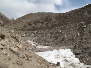 An artificial glacier in village Nang. Photo: Karine Gagne