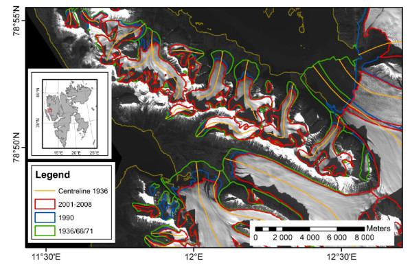 Glacier retreat lines at the Brøggerhalvøya Glacier between 1936 and 2007. Chapter, 10, p. 234, Figure 10.3.