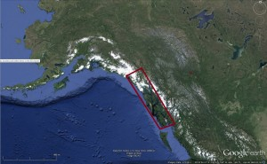 Southeast Alaska shown in the red rectangle (Source: Google Earth).