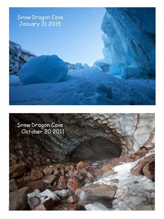 An image of the opening to The Snow Dragon Ice Cave on Mt. Hood before and after roof collapse