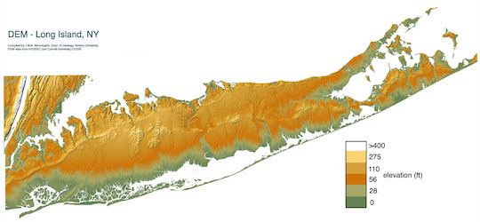 An elevation map of Long Island