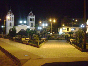 Plazuela Belen, city of Huaraz, Peru, at night. ©Dtarazona Licensed under CC BY-SA 3.0 via Wikimedia Commons.
