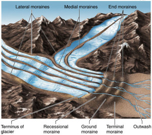 A diagram of how glacial Moraines are formed