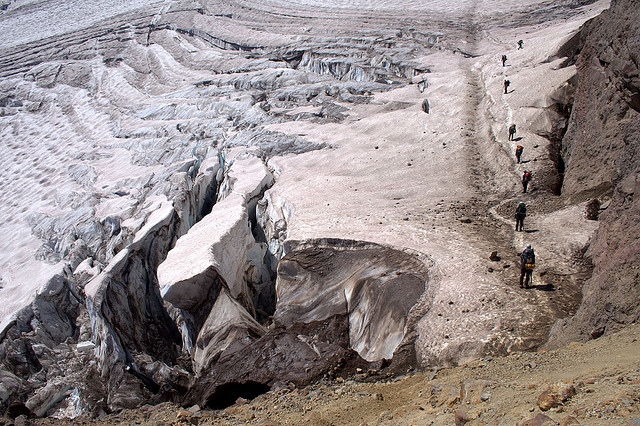 Glacier climbers alongside crevasses