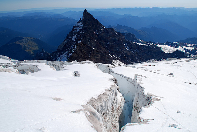 A relatively deep crevasse at a higher altitude