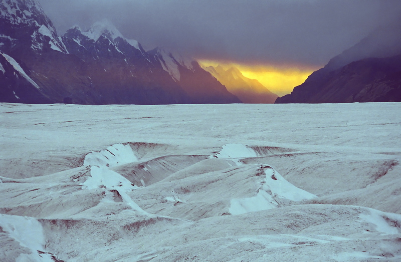 Panorama of the Glacier Northern Inulchek with the glacial rivers and lakes.