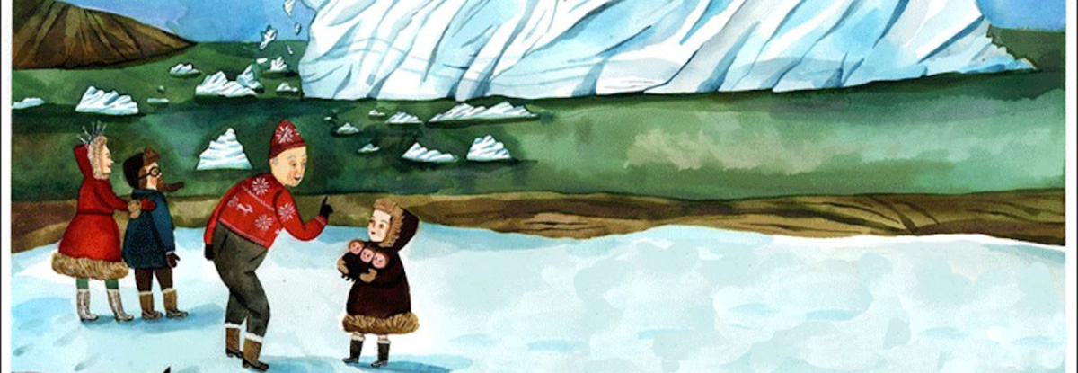 An image of the inside pages of Cecil The Pet Glacier by Matthea Harvey and Giselle Potter.