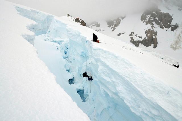 Glacier climber, crevasse rescue