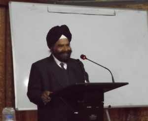 Harbans Singh delivering opening address sour