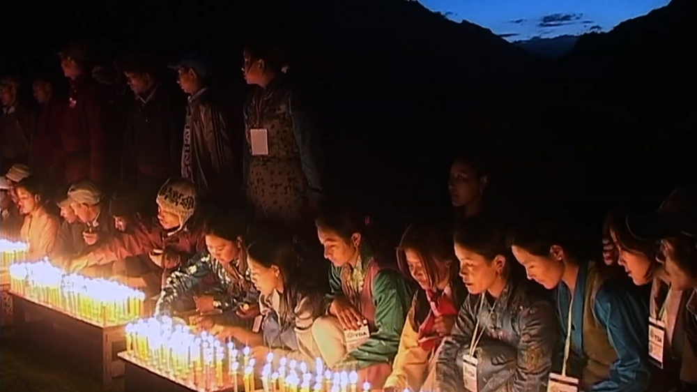 Voyagers take time to pray on their environmental journey. Source:  Screenshot of Pad Yatra Documentary