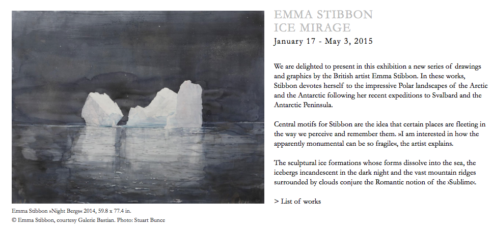 Screen shot of EMMA STIBBON ICE MIRAGE from  GALERIE BASTIAN website