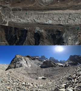 Figure 3: Top: Close up of the Khumbu Glacier tongue. Beneath each arrow there is a pond. Bottom: One of the numerous ponds on surface of Glacier Noir.