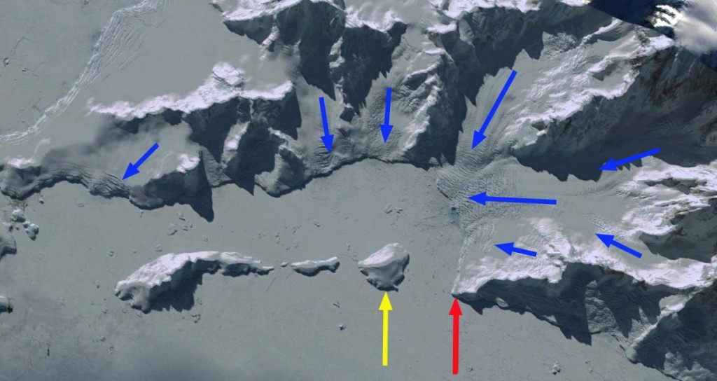 Google Earth image indicating glacier flow directions with blue arrows, island the yellow arrow and glacier terminus the red arrow. Source: AGU