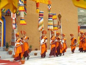 Procession of monks at inauguration ceremony source: B. Orlove)